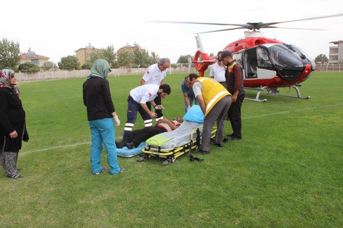Hava ambulansı Mehmet Abi  için havalandı
